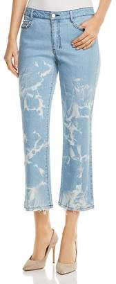 Donna Karan Faded Cropped Flare Jeans in Retro Mid Rinse