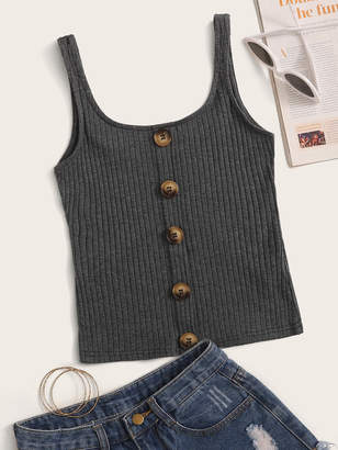 Shein Button Front Rib-knit Tank Top