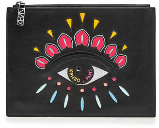 Kenzo Embroidered Leather Clutch