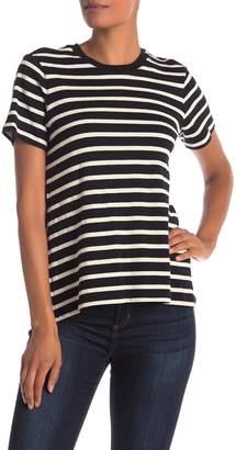 Derek Lam 10 Crosby Asymmetrical Split Back Striped Tee