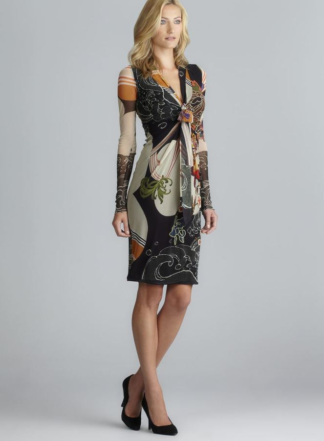 Fuzzi V-Neck Tie Front Long Sleeve Mesh Dress