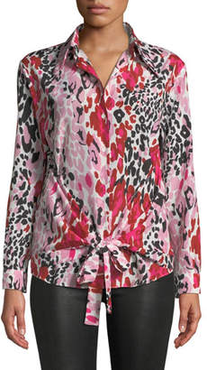M Missoni Long-Sleeve Animal-Print Wrap Blouse