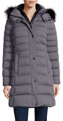 Andrew Marc Gayle Fox Fur-Trim Down Puffer Coat $595 thestylecure.com