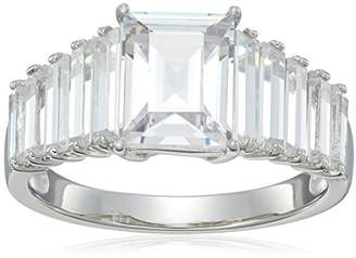 Rhodium Plated Sterling Silver Square Cubic Zirconia 9x7mm Ring