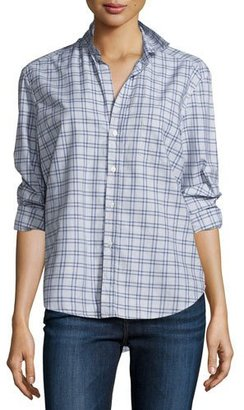 Frank & Eileen Eileen Check Button-Front Shirt, Blue/Heather Gray $218 thestylecure.com