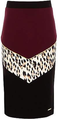 River Island Girls purple spliced leopard print tube skirt