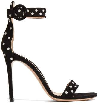 Gianvito Rossi Portofino 100 Studded Suede Sandals - Womens - Black White