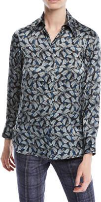 Kiton Long-Sleeve Button-Down Leaf-Print Silk Top