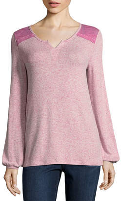 ST. JOHN'S BAY Long Sleeve Split Crew Neck Knit Blouse