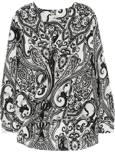 Etro Printed wrap-front silk top