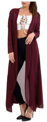 Girlzwalk Women Chiffon Long Sleeves Open Front Maxi Cardigan