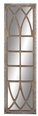 DecMode Decmode Rustic Wood Window-Inspired Framed Wall Mirror Decor, Silver