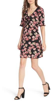 Band of Gypsies Floral Print Tie Ruched Dress