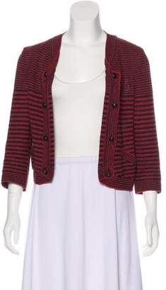 Chanel Striped Open-Front Cardigan