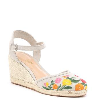 Lauren Ralph Lauren Hayleigh Floral Embroidered Espadrille Wedge Sandals