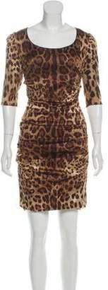 Dolce & Gabbana Animal Print Bodycon Dress Brown Animal Print Bodycon Dress