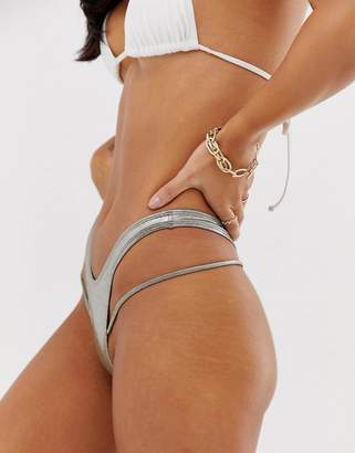 Minimale Animale side string thong bikni bottoms silver