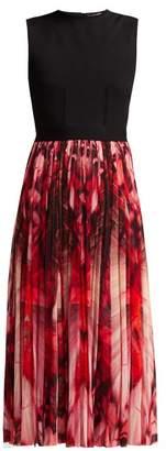 Alexander McQueen Butterfly Print Midi Plisse Dress - Womens - Red Multi