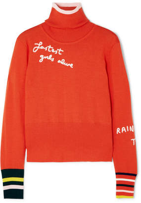 Mira Mikati Embroidered Merino Wool Turtleneck Sweater - Bright orange