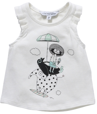 Little Marc Jacobs Girl's Pleat Sleeve Printed Penguin Tank Top - Off White