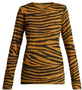 Tiger Print Long Sleeved Cotton T Shirt - Womens - Beige Multi