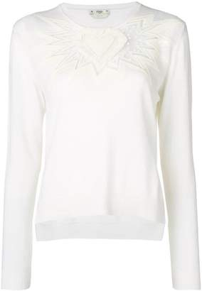 Fendi cashmere embroidered knitted top