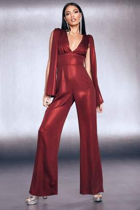 boohoo Premium Foiled Satin Cape Sleeve Wide Leg Jumpsuit