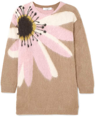 Valentino Oversized Embroidered Cashmere Sweater - Beige