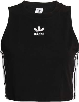 adidas (アディダス) - Adidas Originals クロップド 刺繍入り ストレッチコットンジャージー トップス