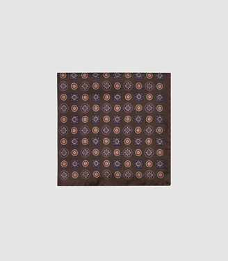 Reiss Kruis - Silk Medallion Pocket Square in Brown