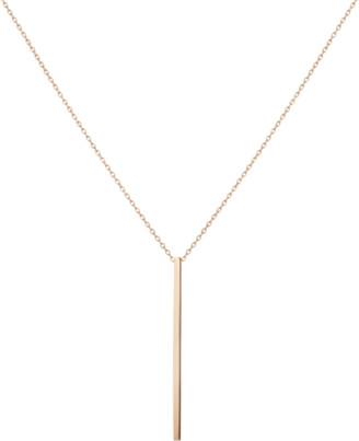AUrate New York Long Gold Bar Drop Necklace