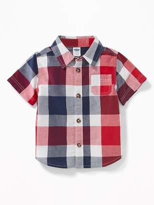 Old Navy Red, White & Blue Plaid Shirt for Baby
