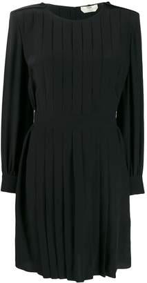 Fendi square shoulder pleated dress