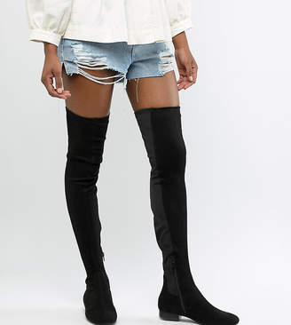 Asos Tall DESIGN Tall Kelby flat elastic over the knee boots