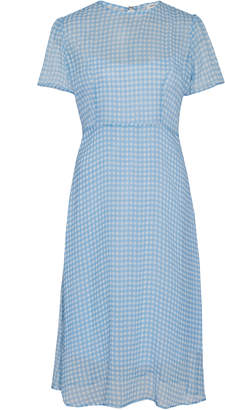 HVN Lindy Gingham Sllk-Chiffon Dress
