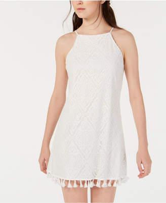 Speechless Juniors' Allover-Lace Tassel-Hem Dress