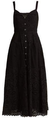 Saloni Fara Broderie Anglaise Cotton Midi Dress - Womens - Black