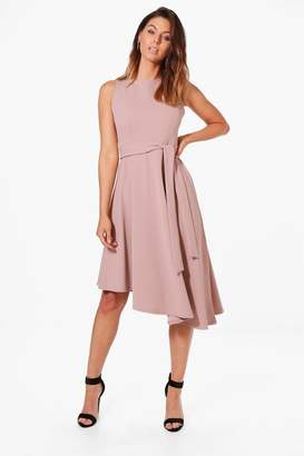 boohoo Asymmetric Formal Midi Skater Dress