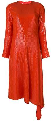 MSGM asymmetric hem sequinned dress