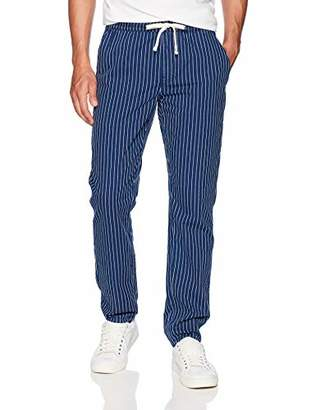 Co Quality Durables Men's Loose Fit Striped Denim Chambray Pant Indigo