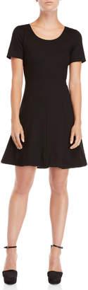 Sonia Rykiel Sonia By Faux Leather Hem Fit & Flare Dress