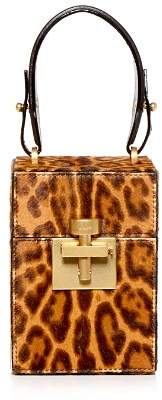 Oscar de la Renta Alibi Leopard Print Calf Hair Top Handle Box Bag
