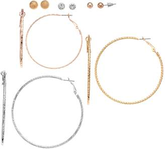 Mudd Set of 6 Pearl Studs & Hoop Earrings