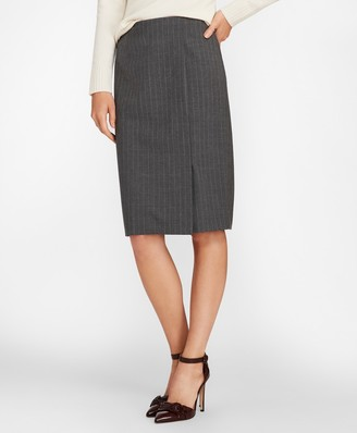 Brooks Brothers Pinstripe Stretch Wool Faux Wrap Skirt