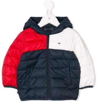 Tommy Hilfiger Junior hooded panelled padded jacket