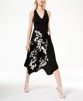INC International Concepts I.n.c. Floral Cutout-Back Dress