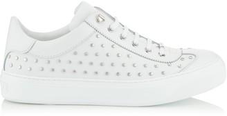 Jimmy Choo ACE White Sport Calf Leather Low Tops Trainers with All Over Silver Studs