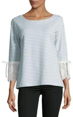 Striped Lace Bell Sleeve Top