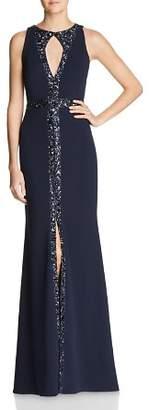 Aidan Mattox Embellished Keyhole Gown