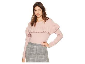 J.o.a. Knit Top with Ruffled Front Women's Clothing